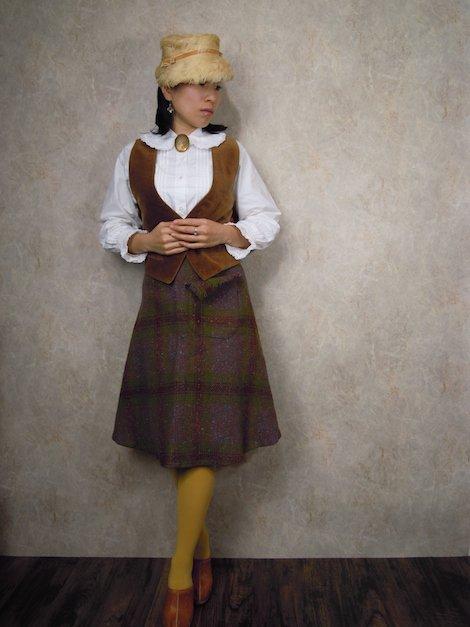 1960's ヴィンテージ フリンジポケット チェック柄 ウールスカート