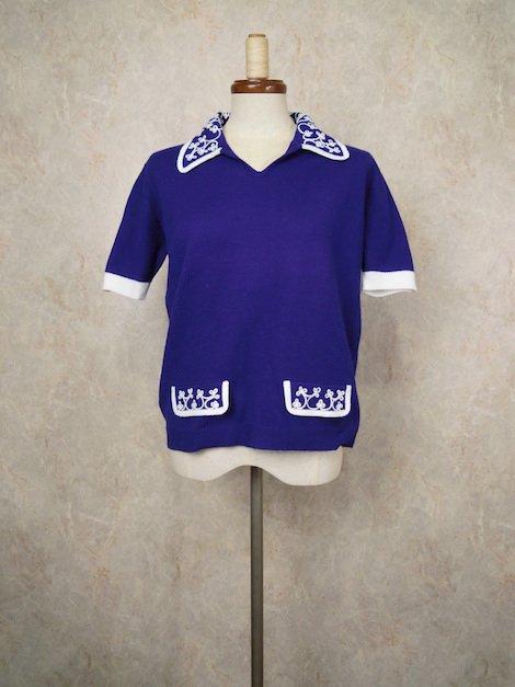 "1970's 刺繍 襟付き 半袖 ニット セーター""ネイビー×ホワイト"""