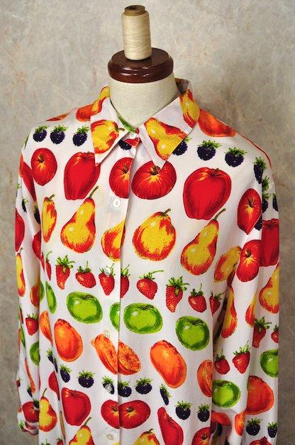 フルーツ柄 シルクブラウス
