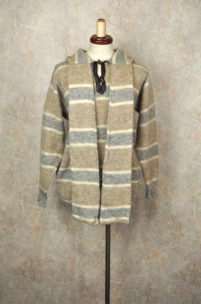 アイスランド製 フード&マフラー付き ボーダーニットセーター