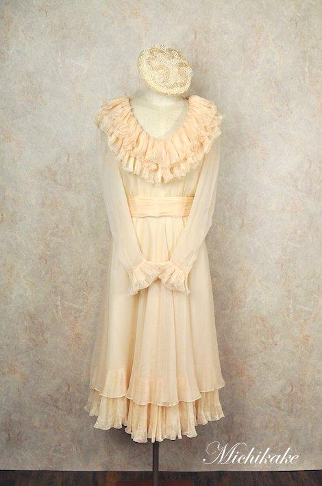 シルクシフォン ロングスリーブ ヴィンテージ ウェディングドレス