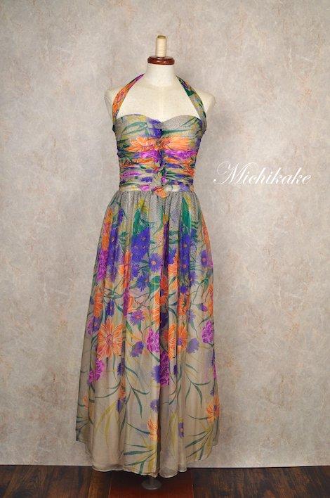 1950's-1960's シルクシフォン ボタニカル ホルターネック ヴィンテージドレス