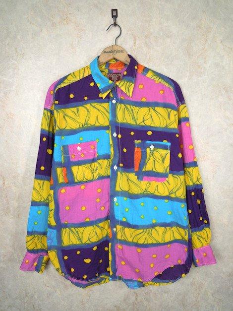 1980's フランス製 ドット&総柄コットンシャツ