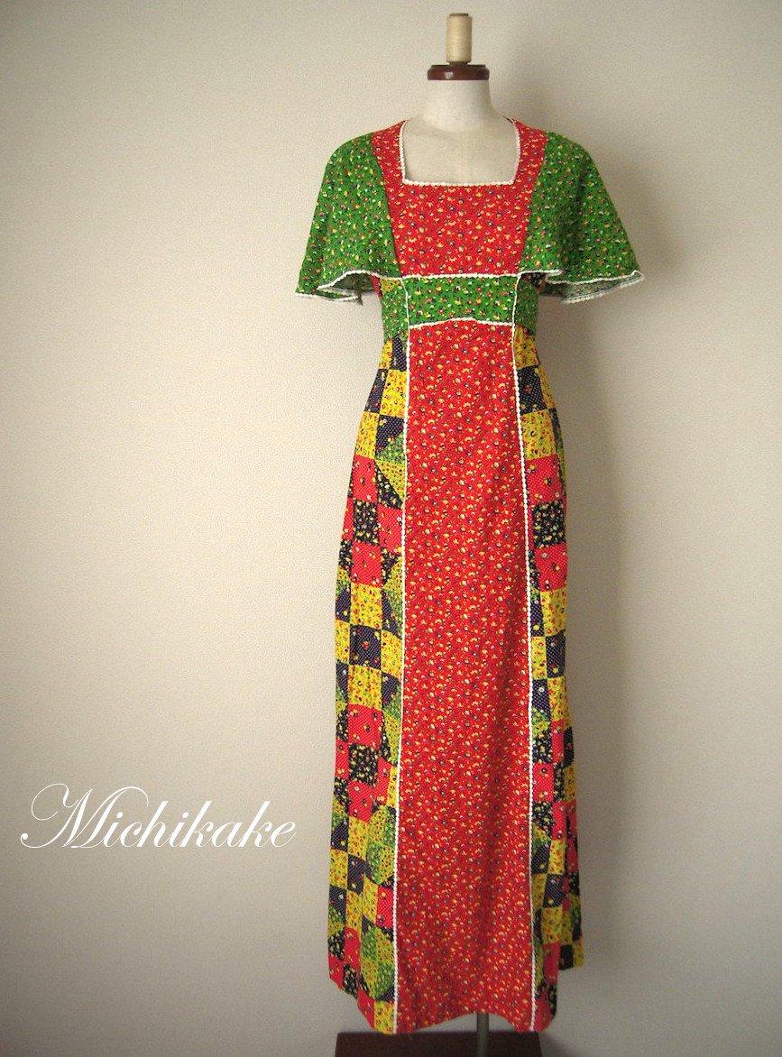 1970's パッチワーク柄 マキシ丈 ヒッピー ヴィンテージワンピースドレス