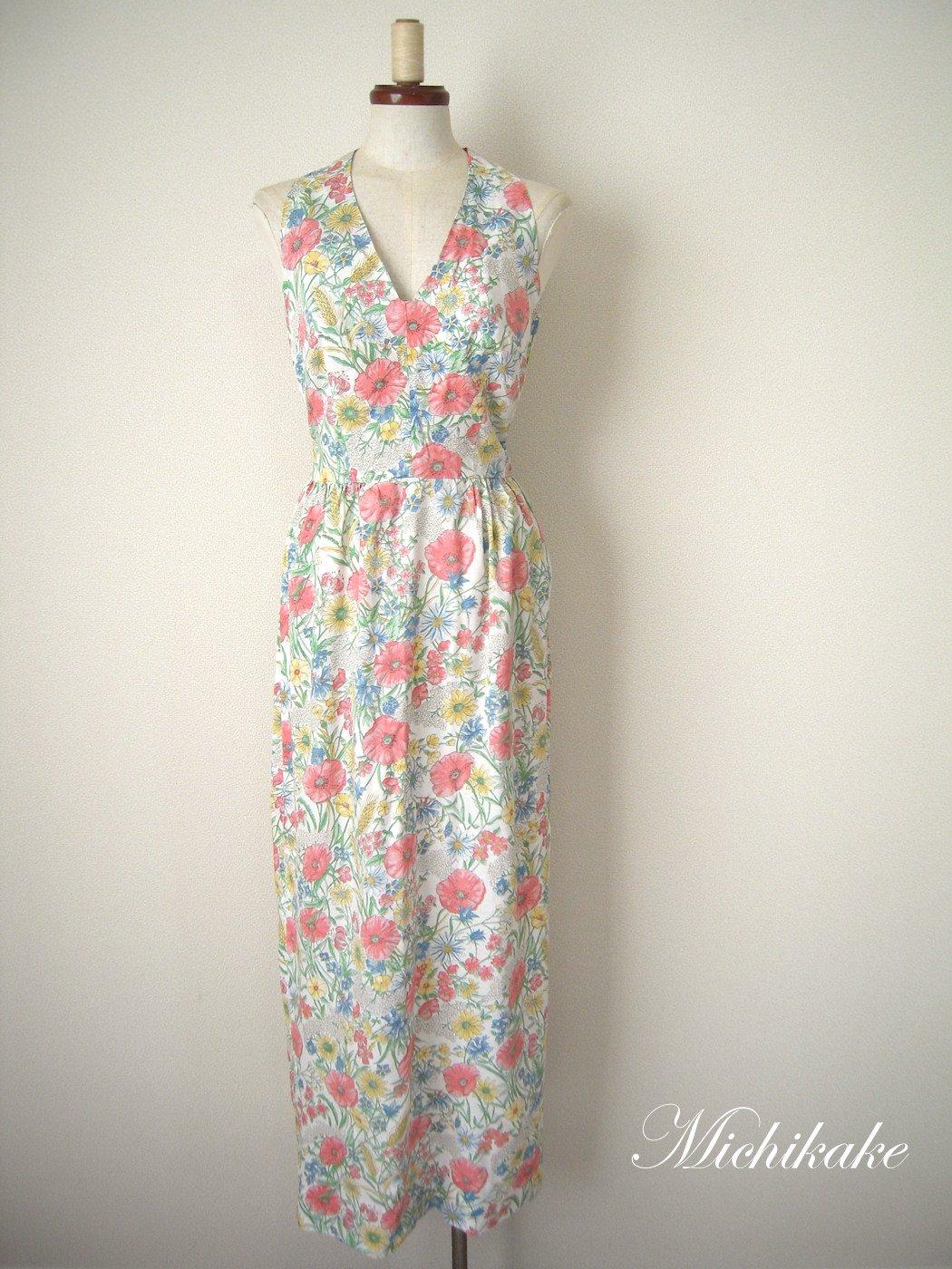 1970's 花柄ホルターネックヴィンテージワンピースドレス