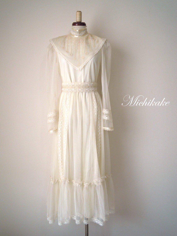 """1970's 【Candi Jones】長袖ヴィンテージウェディングドレス """"アイボリー"""""""