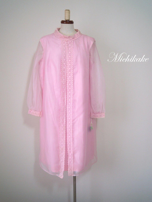 """【デッドストック】1960's 長袖チュールレースワンピースドレス """"ピンク"""""""