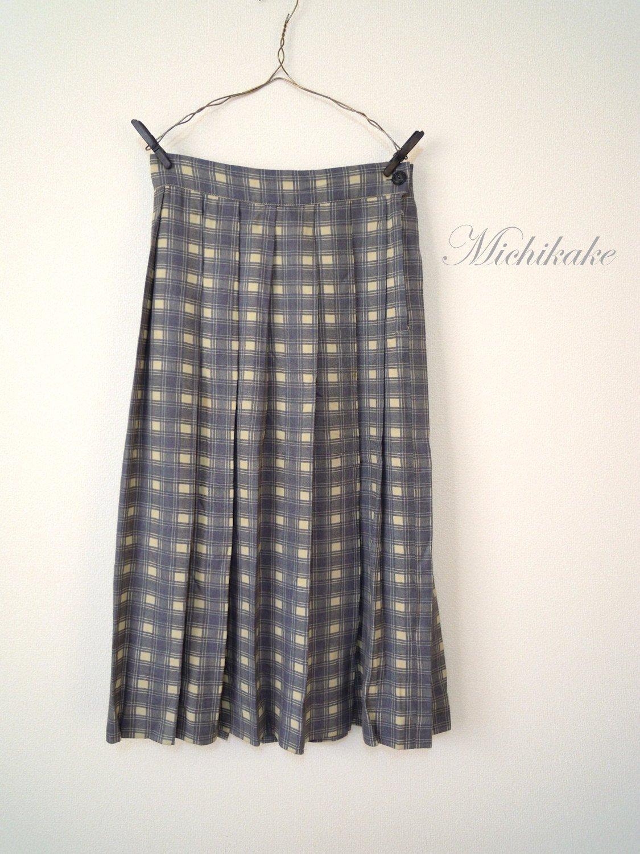 "1940's-1950'sチェック柄ヴィンテージプリーツスカート ""グレー×アイボリー"""