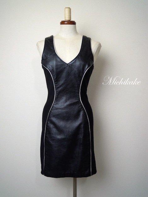 ヴィンテージ  タイト レザーワンピースドレス