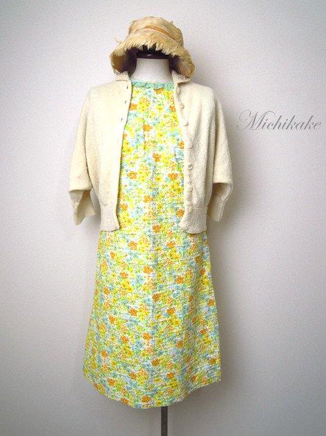 1960' 花柄 ノースリーブ ヴィンテージ ワンピースドレス
