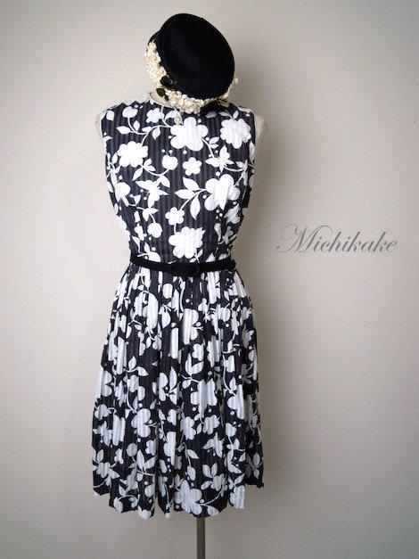 1950's-1960's 花柄 シアーストライプ シフォン ワンピースドレス