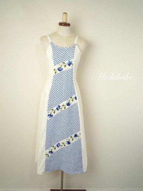 1970's ヴィンテージ メッシュ×花柄刺繍 ノースリーブ ワンピース ドレス