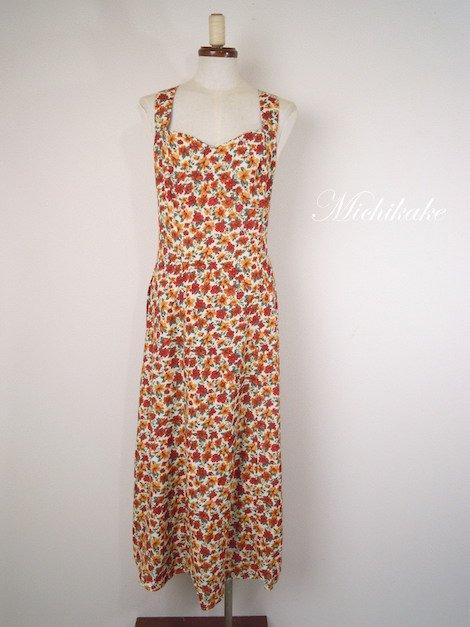 バッククロスストラップ 花柄 ロング ワンピースドレス