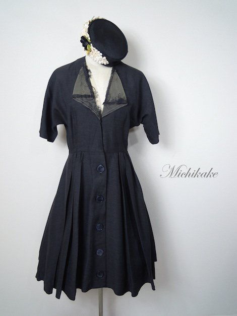 1940's コードストライプ ドルマンスリーブ ヴィンテージドレス 'ブラック