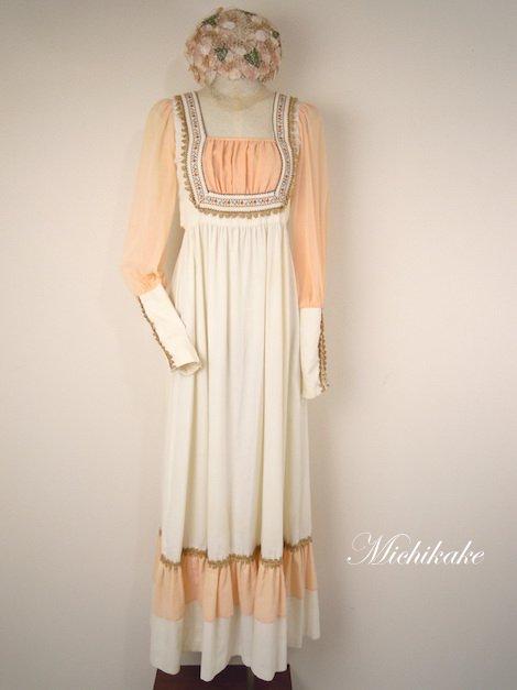 1970's ロングカフス エンパイア ヴィンテージドレス