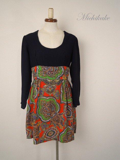 1960's オリエンタル柄 ヴィンテージ ミニ ワンピースドレス