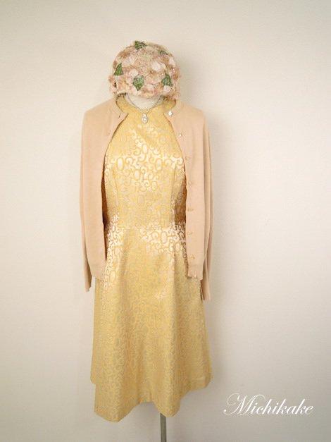 1950's クラシカル 刺繍 ノースリーブ ヴィンテージドレス