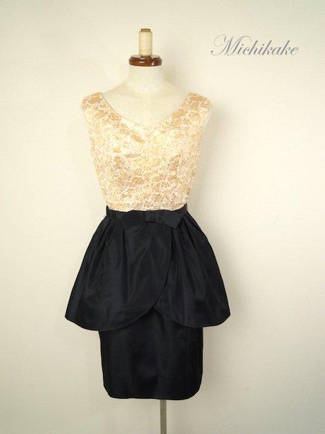 """1960's ヴィンテージ ペプラム ワンピース ドレス """"ゴールド×ブラック"""""""
