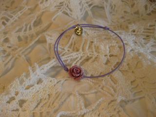 バラチャームゴムブレスレット(紫色)