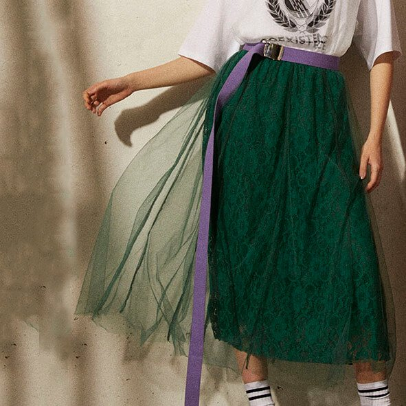 AULA AILA LACE TULLE LAYERED SKIRT