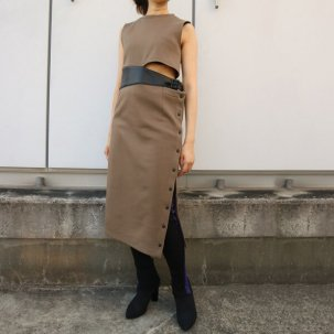 AULA LEATHER BELT SWEAT DRESS