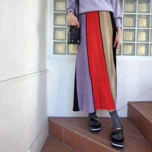AULA AILA COLOR BLOCK KNIT SKIRT /先行予約