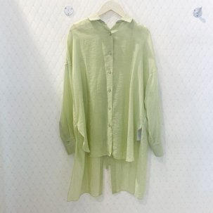 ma couleur オーガンジーバックノットシースルーシャツ