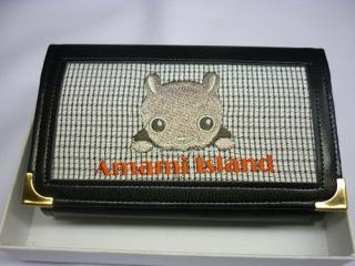 奄美のクロウサギ刺繍入り名刺入れ