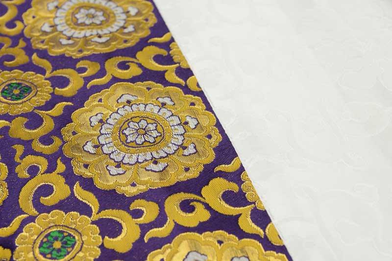 盆棚(精霊棚)金襴布  唐花 紫 3尺