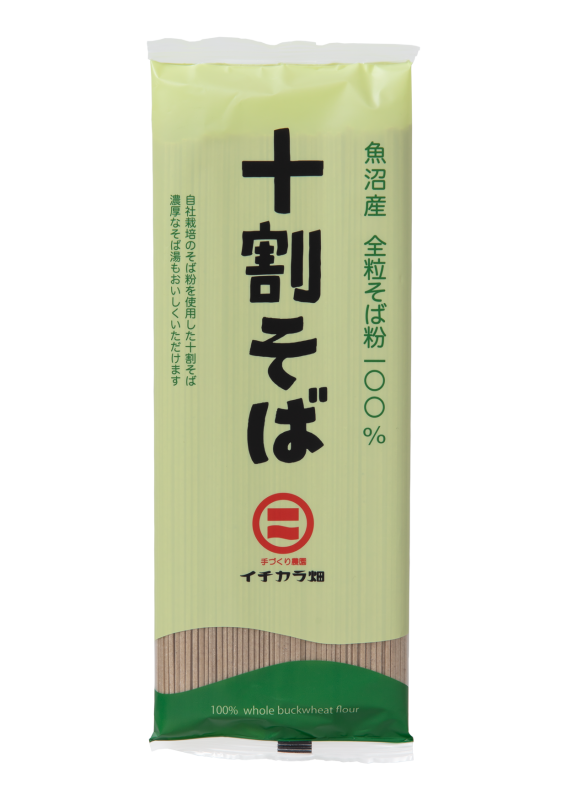 魚沼産全粒そば粉100%使用「十割そば乾麺」(180g)
