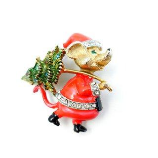 JJ(ジェイジェイ)☆クリスマスツリーを運ぶサンタねずみのヴィンテージ・ブローチ