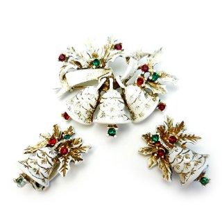 DODDS(ドッズ)☆ひいらぎとホワイトクリスマス・ベルのヴィンテージ・ブローチ&イヤリングのセット