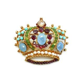 《国際送料無料》アウトレット SWOBODA(スワボダ)☆天然石マルチカラー豪華な王冠のブローチ