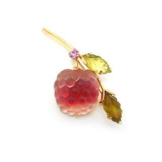 AUSTRIA(オーストリア)☆ 一粒ラズベリー・フルーツガラスのアンティークブローチ