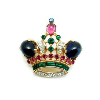 《国際送料無料》TRIFARI(トリファリ)☆サファイヤブルー王冠のアンティーク・ブローチ【小】