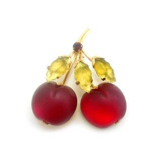 《国際送料無料》AUSTRIA(オーストリア)☆フルーツガラス真っ赤なさくらんぼ・チェリーのアンティークブローチ