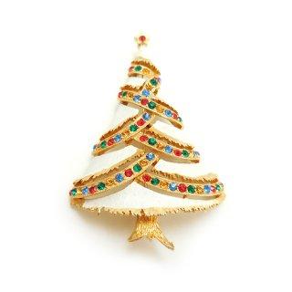 JJ(ジェイジェイ)☆ラインストーン・ホワイトクリスマスツリーのヴィンテージ・ブローチ