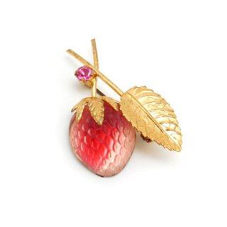 AUSTRIA(オーストリア)☆コーラルピンクのストロベリー フルーツガラス 一粒苺のアンティーク・ミニブローチ