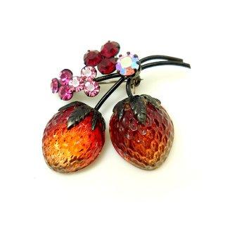 【アウトレット】AUSTRIA(オーストリア)☆フルーツガラス・赤いストロベリー ダブルの苺のヴィンテージ・ブローチ