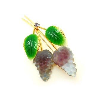 AUSTRIA(オーストリア)☆フルーツガラス・エナメルリーフ・ダブルの葡萄のヴィンテージブローチ