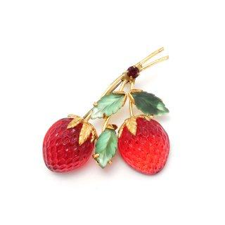 AUSTRIA(オーストリア)☆レッドストロベリー フルーツガラス 真っ赤な苺のヴィンテージ・ブローチ