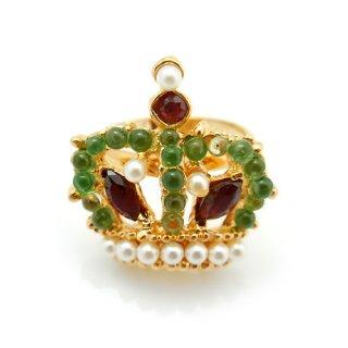 【アウトレット】SWOBODA(スワボダ)☆天然石ペリドット・ガーネット・真珠の王冠のリング