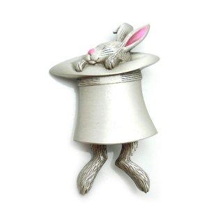 JJ(ジェイジェイ)☆足が揺れ動く紳士ハットとウサギのヴィンテージ・ブローチ【シルバー/デッドストック】