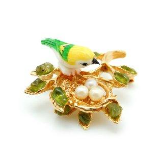 SWOBODA(スワボダ)☆天然石ペリドットと淡水パール 鳥の巣と黄色い小鳥のヴィンテージ・ブローチ