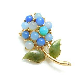 SWOBODA(スワボダ)☆青い天然石フラワー 紫陽花のヴィンテージ・ブローチ