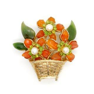 SWOBODA(スワボダ)☆天然石と真珠の花篭/フラワーバスケットのヴィンテージ・ブローチ