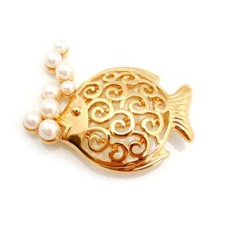 TRIFARI(トリファリ)☆ぶくぶくパールの泡とゴールド・フィッシュ魚のヴィンテージ・ブローチ