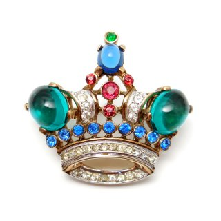 【送料無料】TRIFARI(トリファリ)☆エメラルド王冠のアンティーク・ブローチ【小】