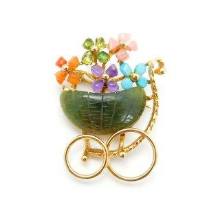 SWOBODA(スワボダ)カラフルな天然石フラワーカート お花のワゴンのヴィンテージ・ブローチ
