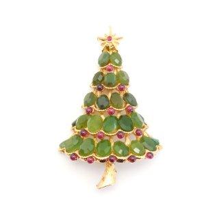 【送料無料】SWOBODA(スワボダ)☆天然石ヒスイとガーネット クリスマスツリーのヴィンテージ・ブローチ